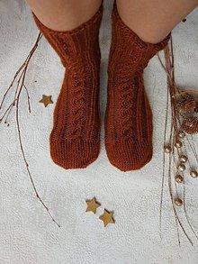 Obuv - Pánske pletené vlnené ponožky (tehla) - 10223777_