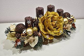 Svietidlá a sviečky - Adventný svietnik: Zlaté Vianoce 30424 - 10225860_