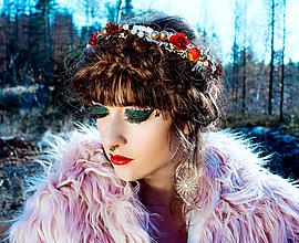 Ozdoby do vlasov - Červeno zlatý vianočný venček - 10225319_