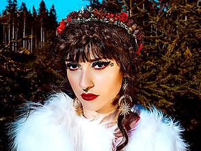 Ozdoby do vlasov - Červený vianočný venček - 10225369_