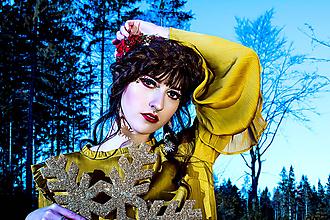 Ozdoby do vlasov - Červeno zlatá vianočna čelenka - 10227301_