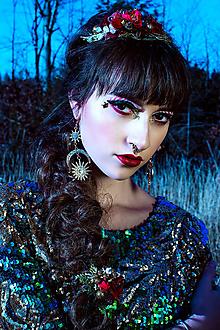 Ozdoby do vlasov - Vianočná elastická čelenka s kvetinami - 10227319_