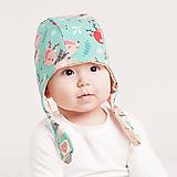 Detské čiapky - Obojstranná čiapka z bio bavlny GOTS - srnky - 10227019_