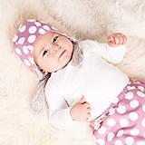 Detské čiapky - Obojstranná zateplená čiapka z bio bavlny GOTS - vintage ružová - 10227135_