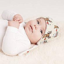 Detské čiapky - Zateplená obojstranná čiapka z bio bavlny GOTS - psík a mačička - 10227042_