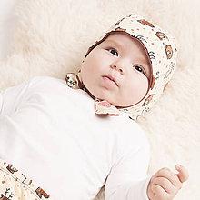 Detské čiapky - Obojstranná čiapka z bio bavlny GOTS - zvieratká - 10227060_