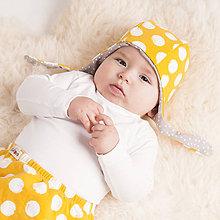 Detské čiapky - Obojstranná zateplená čiapka z bio bavlny GOTS - horčicová - 10227086_