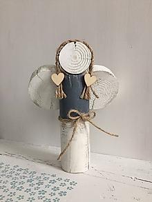 Dekorácie - Anjelik z dreva - 20 cm (Šedá) - 10226577_