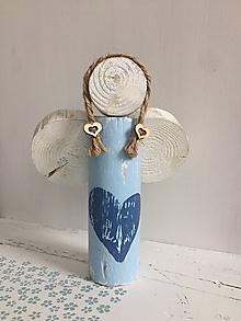 Dekorácie - Anjelik z dreva - 20 cm (Modrá) - 10226581_