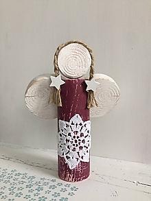 Dekorácie - Anjelik z dreva - 20 cm (Bordová) - 10226583_