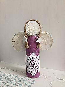 Dekorácie - Anjelik z dreva - 20 cm (Fialová) - 10226584_