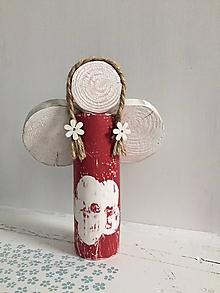 Dekorácie - Anjelik z dreva - 20 cm (Červená) - 10226586_