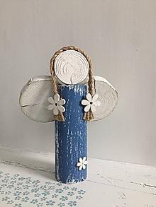 Dekorácie - Anjelik z dreva - 20 cm (Modrá) - 10226587_