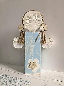 Dekorácie - Anjelik z dreva - 24 cm (Modrá) - 10226650_