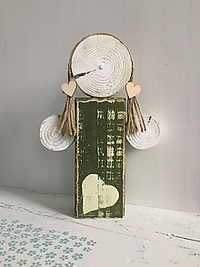 Dekorácie - Anjelik z dreva - 24 cm (Zelená) - 10226651_