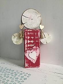 Dekorácie - Anjelik z dreva - 24 cm (Červená) - 10226653_
