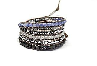 Náramky - Dámský wrap náramok BRYXI z mixu minerálů v modro-šedej farbe - 10224595_