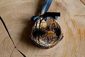 Dekorácie - Drevené mini maľované dekorácie (Most v lese) - 10224861_