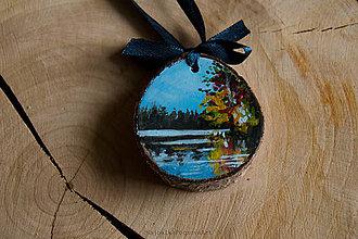 Dekorácie - Drevené mini maľované dekorácie (Príroda s jazerom) - 10224865_