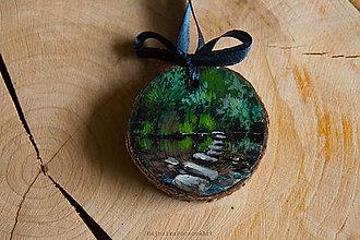 Dekorácie - Drevené mini maľované dekorácie (Zelená krajinka s jazerom) - 10224869_