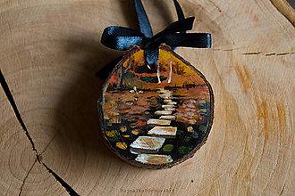 Dekorácie - Drevené mini maľované dekorácie (Jesenná krajinka) - 10224906_
