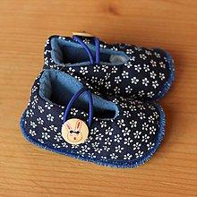 Topánočky - Capačky modré kvietkované - 10224688_