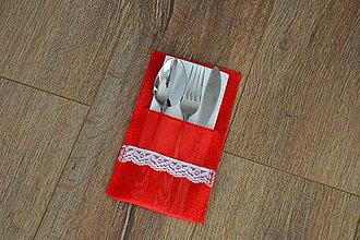 Úžitkový textil - Vianočný obal na príbor - červený s čipkou - 10224067_