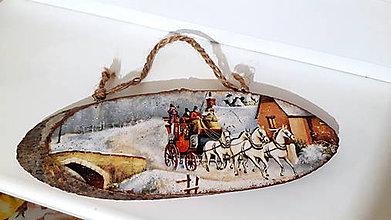 Tabuľky - Drevená tabuľka na dvere konský záprah - 10227036_