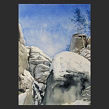 Obrazy - Soumrak ve skalách - originál, akvarel - 10223590_