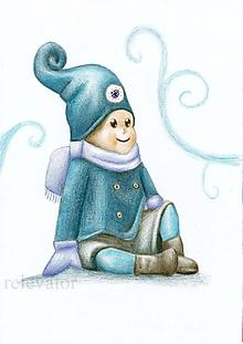 Kresby - Zimný škriatok užívajúci si zimu - 10226226_