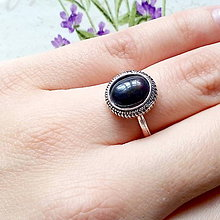Prstene - Filigree Oval Black Opal Ring / Vintage prsteň s čiernym opálom - 10230761_