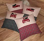 """Úžitkový textil - Vianočné vyšívané vankúše  """"Auta""""zelene;červene - 10231193_"""