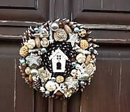 Dekorácie - Prírodný vianočný veniec, 25 cm - 10228220_