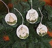 Dekorácie - natur drevené ozdoby na vianočný stromček sada 4 kusy - 10228161_