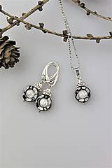 Sady šperkov - krištál,hematit náušnice s príveskom - 10231179_