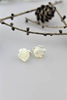 Náušnice - perleť biela náušnice v striebre napichovacie - 10230865_