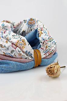 Šály - Pôvabný dvojitý kvetinový nákrčník z ľanu a bavlny