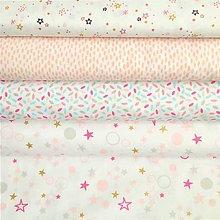 Textil - ružovo-pastelové hviezdičky väčšie, 100 % bavlna Francúzsko, šírka 150 cm - 10229787_