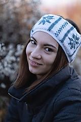 Čiapky - Čelenka bielo-modrá, obojstranná - 10227610_
