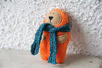 Kľúčenky - Jonas - mini medveď v oranžovom kožuchu - 10227849_