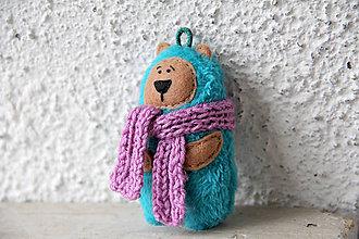 Kľúčenky - Tarik - mini medveď v tyrkysovom kožuchu - 10227860_