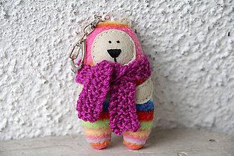 Kľúčenky - Kaspar - mini medveď v pásikavom kožuchu - 10227880_