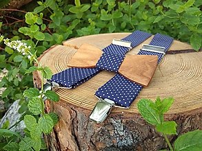 Doplnky - Pánsky drevený motýlik a traky - 10229212_