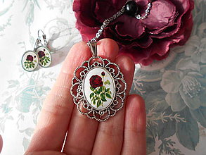 Sady šperkov - Bordová ruža - 10229957_