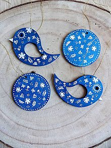 Dekorácie - Vianočné ozdoby  - v metalickej modrej - 10228993_