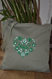 Nákupné tašky - zelené srdiečko - 10228934_