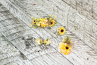"""Ozdoby do vlasov - Kvetinový set """"dotyky slnka"""" - 10228080_"""