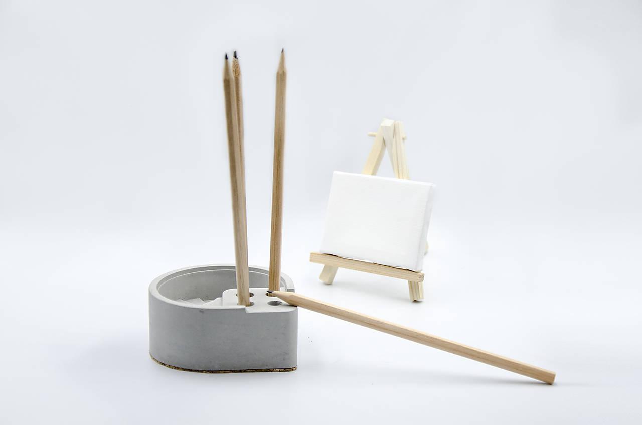Pomôcky - Betónový stojan na ceruzky Scribo (Šedá) - 10228892_