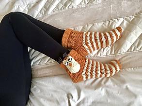 Obuv - Háčkované ponožky sovičky - 10228154_