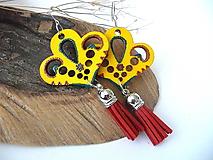 Náušnice - žlté folk náušnice so strapcami - 10228022_